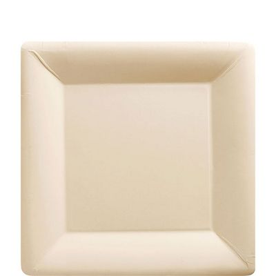 Ivory Square Plates - 18cm Paper Party Plates - 20 Pack