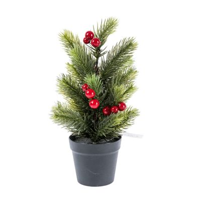 Homescapes Mini Artificial Potted Christmas Tree with Red Berries, 72 cm