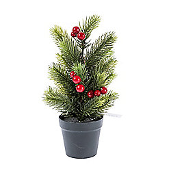 Homescapes Mini Artificial Potted Christmas Tree With Red Berries 72