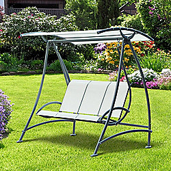 Outsunny 3 Seater Aluminium Canopy Swing Chair Bench Seat Garden