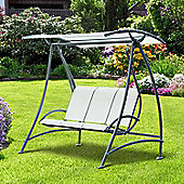 Outsunny 3 Seater Aluminium Canopy Swing Chair Bench Seat Garden Furniture Porch Deck