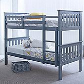 Happy Beds Atlantis Wood Kids Bunk Bed with 2 Memory Foam Mattresses - Grey - 3ft Single