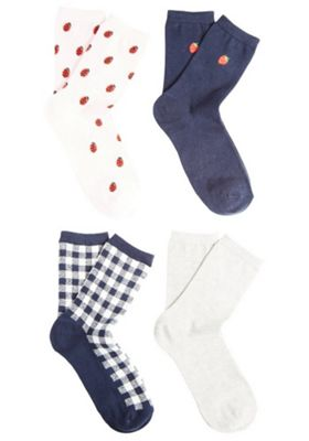 F&F 4 Pair Pack of Strawberry, Gingham, Plain and Ladybird Ankle Socks S-M Multi