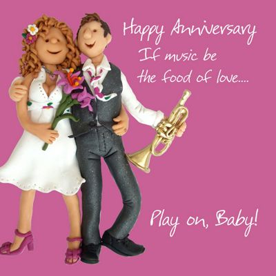 Holy Mackerel Happy Anniversary. If Music Be The Food Of Love Greetings Card