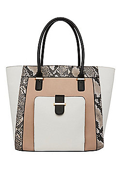 F&F Snake Effect Panel Colour Block Tote Bag