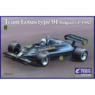 EBBRO 20019 Team Lotus 91 Belgium GP 1982 E019 1:20 Car Model Kit