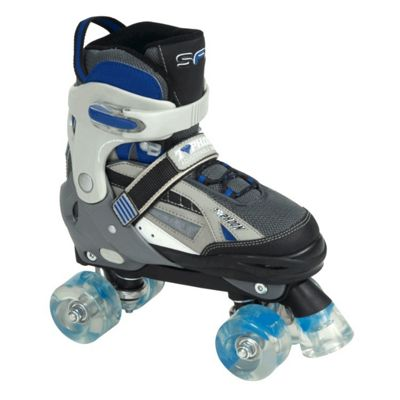 SFR Typhoon Adjustable Boys Quad Skates - Black/Blue - Large (UK 3- UK 6)
