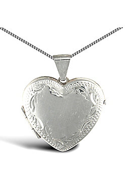 Jewelco London Sterling Silver Heart shape framed pattern Locket Pendant - 18 inch Chain