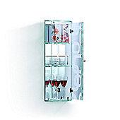 HOMCOM Indoor Glass 3 Display Storage Shelves Cabinet with Mirror Back (Transparent)