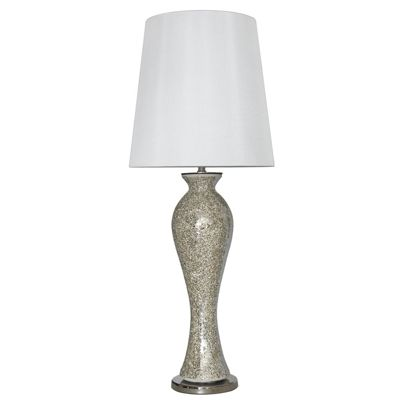 Mosaic Mercury Tall Curve Table Lamp with a White Shade