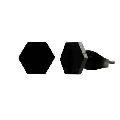 Urban Male Men's Hexagonal Black Stud Earrings in Stainless Steel 8mm