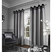 Catherine Lansfield Chicago Eyelet Curtains - Grey