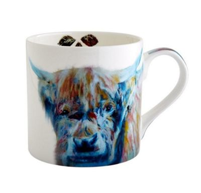 Fairmont and Main Julie Steel Design Blue Watercolour Highland Cow Mug 380ml M/JS02