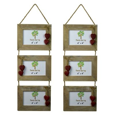 Nicola Spring Triple Wooden 3 Photo Hanging Picture Frame With Red Hearts - 6 x 4