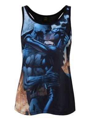 DC Comics Batman & Catwoman Women's Vest, Black.