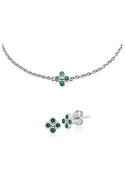 Gemondo Sterling Silver Emerald Cluster Stud Earring & 19cm Bracelet Set