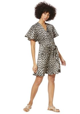 F&F Animal Print Wrap Dress Multi 20