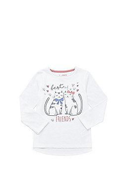 F&F Cat Friends Long Sleeve T-Shirt - White