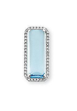 Jewelco London 9ct White Gold - Diamond & Blue Topaz - Penant Charm Pendant -