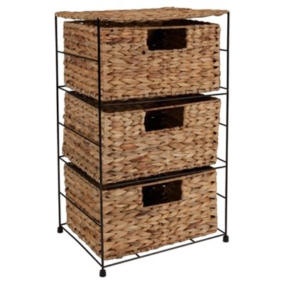 Tesco Water Hyacinth 3 Drawer Storage Tower