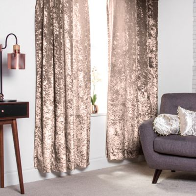 Truffle Crushed Velvet Heavyweight Curtains 90
