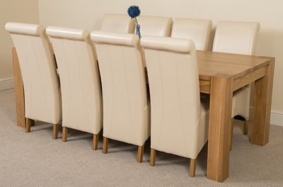 Kuba Chunky Solid Oak 220 cm with 8 Ivory Montana Chairs