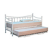 Comfy Living 3ft Single Ornate Day Bed in White TRUNDLE INCLUDED with 2 Basic Budget Mattresses