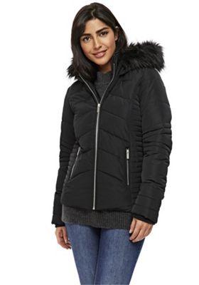 Wallis Faux Fur Trim Short Puffer Coat Black M