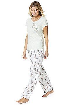 F&F Embroidered Hummingbird Pyjamas - Green