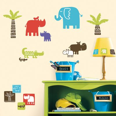 Childrens Wall Stickers - Safari Blocks