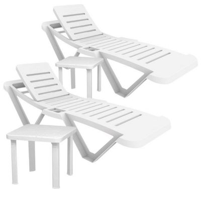Resol Master White Sun Loungers & Side Tables x2 Loungers and 2 Tables)