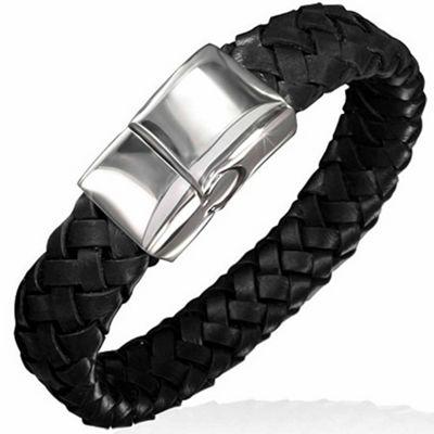 Urban Male Flat Plaited Genuine Black Leather Magnetic Bracelet