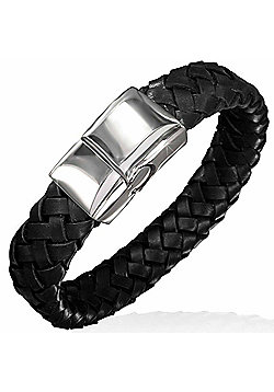 Urban Male Flat Plaited Genuine Black Leather Magnetic Bracelet