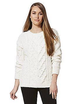 F&F Chenille Cable Knit Jumper - Cream