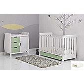 Obaby Stamford Mini Cot Bed/Dresser 2 Piece/Sprung Mattress/Quilt and Bumper Nursery Room Set - White with Pistachio