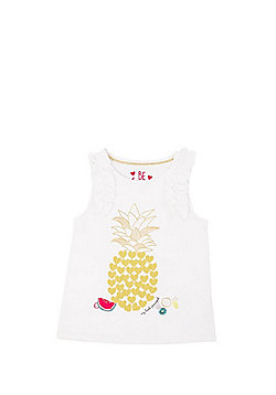 F&F Pineapple Motif Vest Top - White