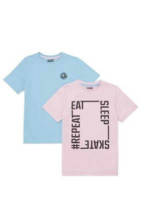 F&F 2 Pack of Slogan and Plain T-Shirts Pink/Blue 5-6 years