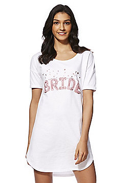 F&F Bride Slogan Sleep T-Shirt - White