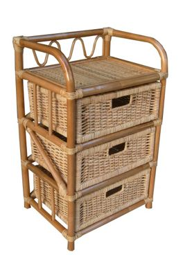 Buy Wicker Valley 3 Drawer Storage Unit Natural From Our