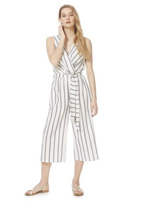 F&F Striped Wrap Jumpsuit White/Navy 20