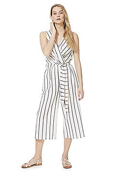 F&F Striped Wrap Jumpsuit - White/Navy