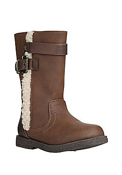 F&F Fleece Lined Biker Boots - Tan