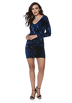Only Sequin Velour Bodycon Dress - Blue