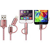 FX R138985 2 in 1 Braided Charge & Sync USB Cable - 3m - Rose Gold