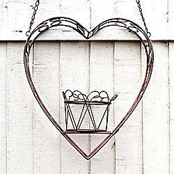 Large Hanging Heart Shaped Rustic Finish Pot Plant Holder