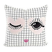 Miss Etoile White&Black Grid Patterned 100% Cotton Cushion with Winking Heart Eyes 50x50cm