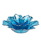 Blue Flower Glass Tea Light Holder
