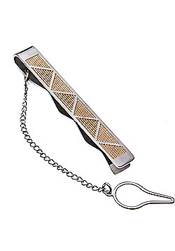 Urban Male Stainless Steel Two Colour Triangle Etched Tie Slide Clip for Men