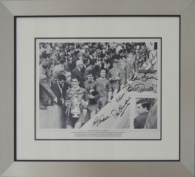 Signed liverpool 1965 FA Cup Final Team Photo - Signed by 10