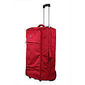 "Swiss Case 28"" Lightweight Folding 2-Wheel Suitcase, Red"